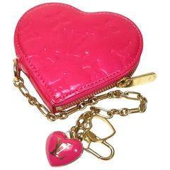 Louis Vuitton Monogram Vernis Heart Bag Charm Key Chain Holder Pink