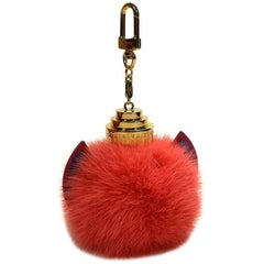 Louis Vuitton Large Size Pink Totem Fur Key Ring and Charm Bag