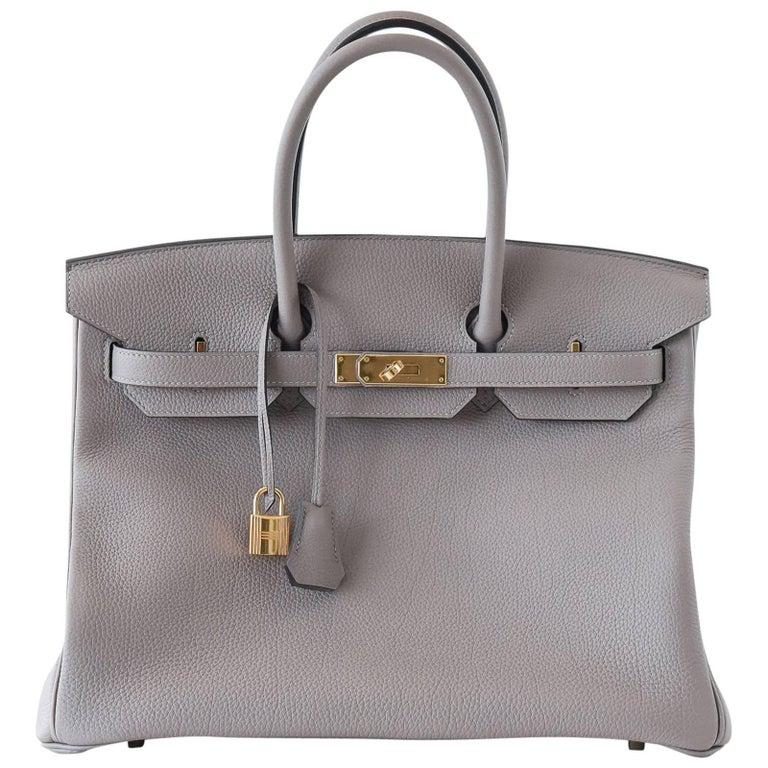 Hermes Birkin 35 Bag Gris Asphalte Togo Gold Hardware For Sale