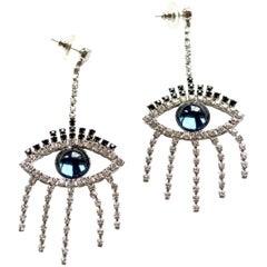 Smokey Blue Good Luck Eye Earrings with Swarovski crystals