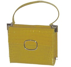Magnificent Rare Roger Vivier Yellow Alligator Handbag