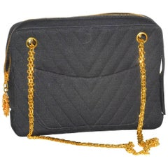 Fabulous Vintage Chanel Chevron Quilted Jersey Bag