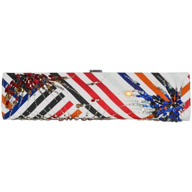 Roger Vivier Fireworks Jeweled Elongated Clutch Bag For Sale