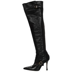 Manolo Blahnik Black Leather Over-The-Knee Boots Sz 37
