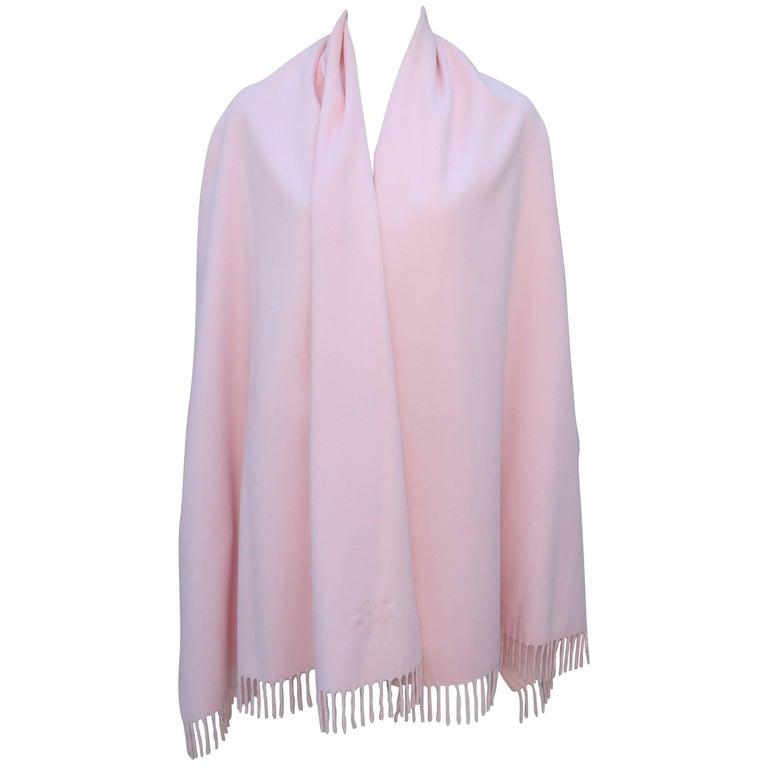 Louis Feraud Pink Cashmere Logo Scarf Shawl, 1980s