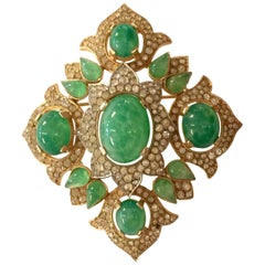 Trifari Jewels of India Goldtone Celadon Green Diamante Quatrefoil Brooch Pin