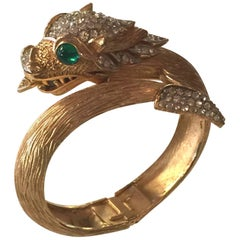 Trifari Matte Brushed Goldtone Diamante Green Cabochon Dragon Hinged Bracelet