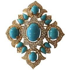 Trifari Jewels of India Goldtone Turquoise Cab & Diamante Quatrefoil Brooch Pin