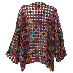 Handcrafted Multicolored Print Yo-Yo Quilt Kimono Sleeve Jacket, 1970s