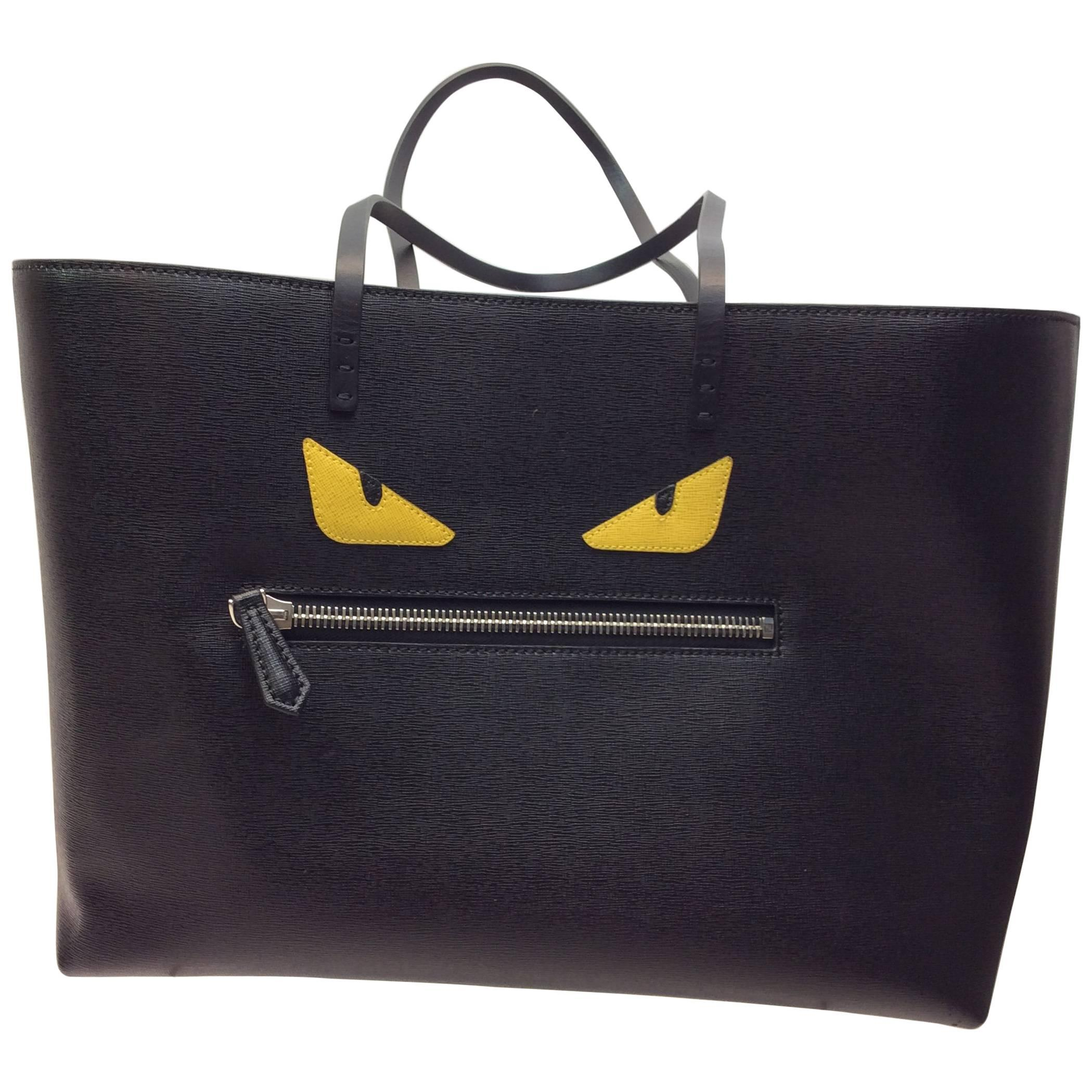 Fendi Black And Blue Eye Tote y0585AmyVW