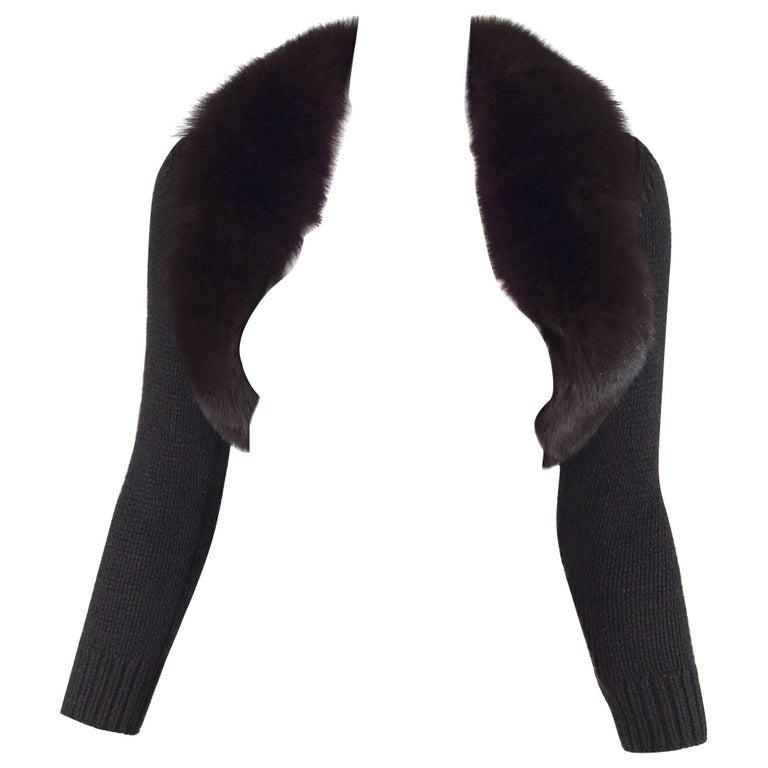 Michael Kors Cashmere Knit Shrug with Fox fur collar