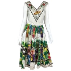Londy of Mexico 1950s Vintage Hand-Painted Skirt Top Ensemble