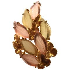 1950s Lisner/Schiaparelli Frosted Glass Antiqued Goldtone Veined Leaf Brooch/Pin