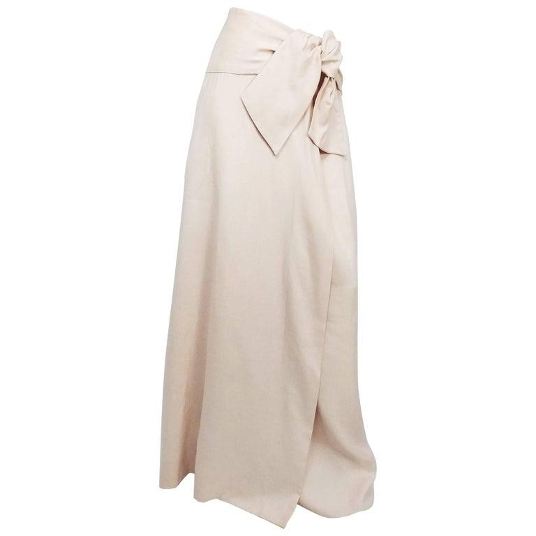 Halston Cream Linen Wraparound Maxi Skirt, 1970s
