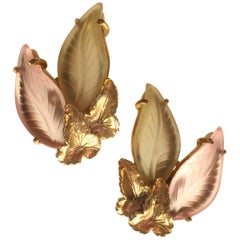 1950s Schiaparelli Frosted Glass Antiqued Goldtone Veined Leaf Clip Earrings