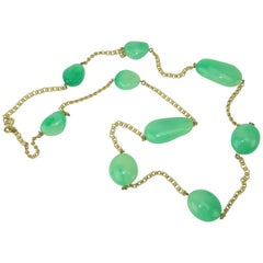 Vintage Kenneth Jay Lane Faux Jade Opera Length Gold Chain Necklace