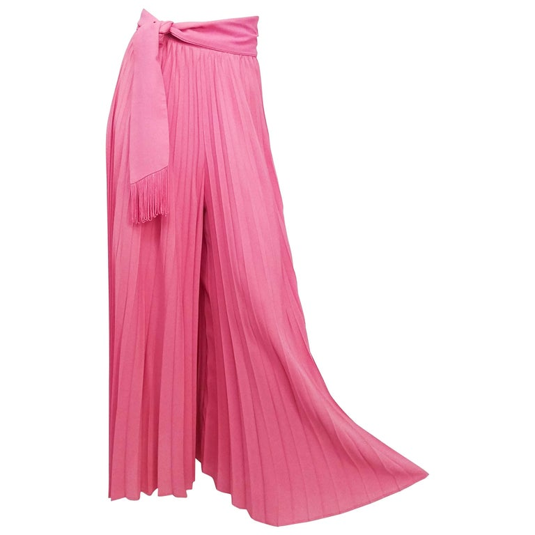 1970s Pink Pleated Wide Leg Pants