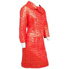 Red and Gold Brocade Jacket Top and Skirt Suit Set, 1960s