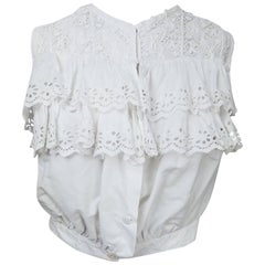 Edwardian White Eyelet Lace Ruffled Top