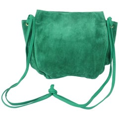Vintage Bottega Veneta Green Suede Leather Hobo Handbag