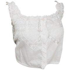 Edwardian White Cotton Lace Camisole w/ Ribbon Trim