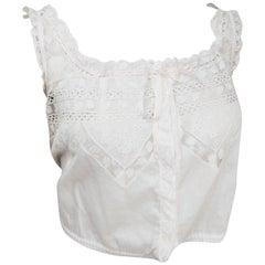 Edwardian White Cotton Lace Camisole w/ Ribbon Trim