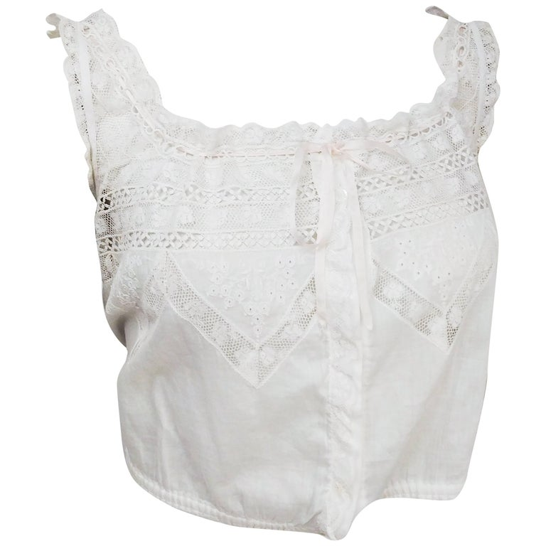 40111fd7636840 Edwardian White Cotton Lace Camisole w  Ribbon Trim For Sale at 1stdibs