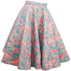 1950s Quilted Cotton Print Circle Skirt