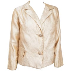 1960s Adele Simpson Gold Jacket w/ Rhinestone Buttons