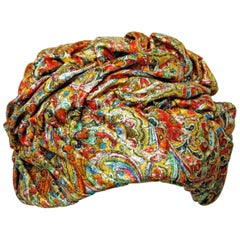 1950s Colorful Metallic Paisley Turban Hat by Marshall Field & Company Size S
