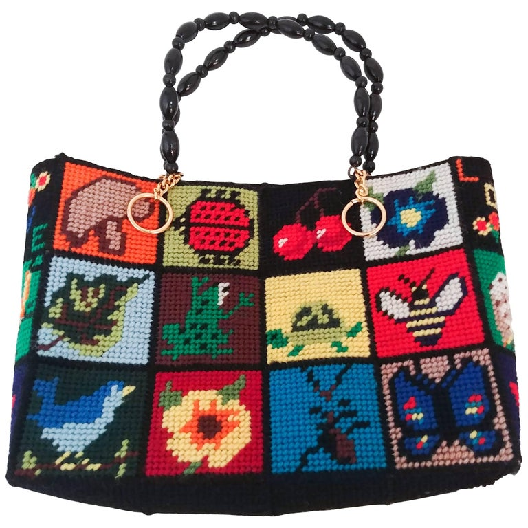 1970s Cross Stitch Handbag