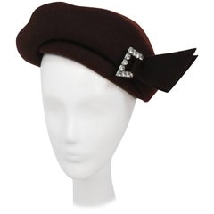 1940s Brown Wool Felt Hat w/ Rhinestone Buckle