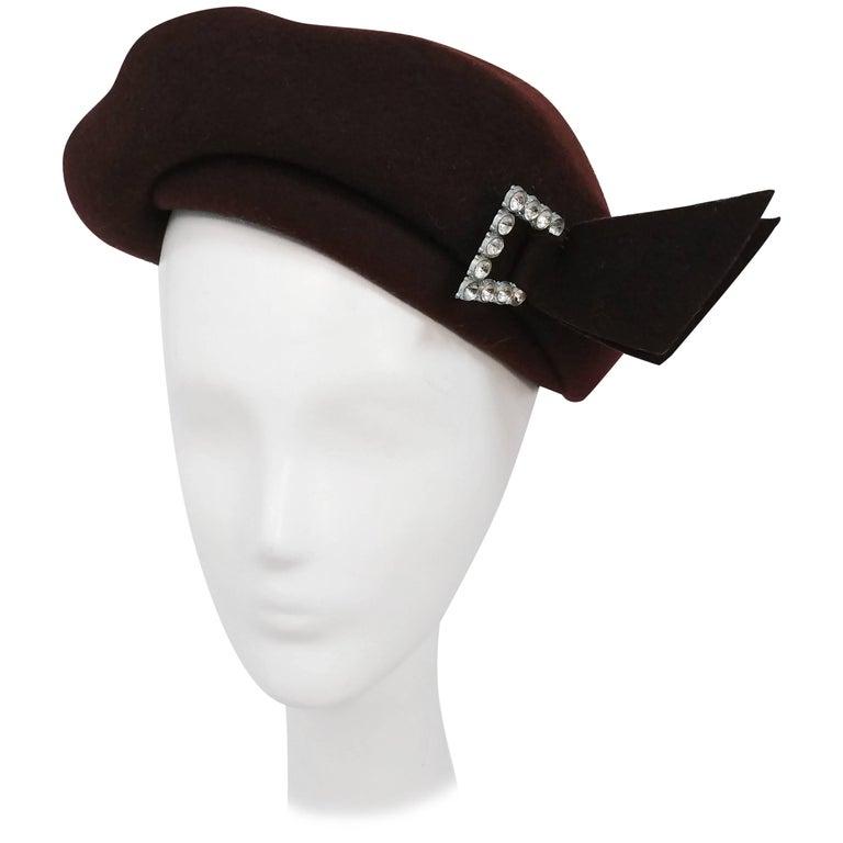 1940s Brown Wool Felt Hat w/ Rhinestone Buckle