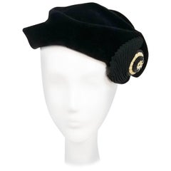 1930s Black Velour Ruched Hat w/ Button Detail