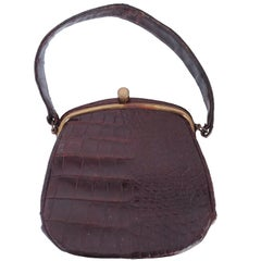 1940s Brown Round Alligator Purse