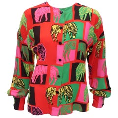 1980's Margaretha Ley for Escada Animal Print Silk Blouse