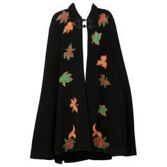 1970s  Saint Laurent Rive Gauche Black Wool Falling Leaves Appliquè Cape