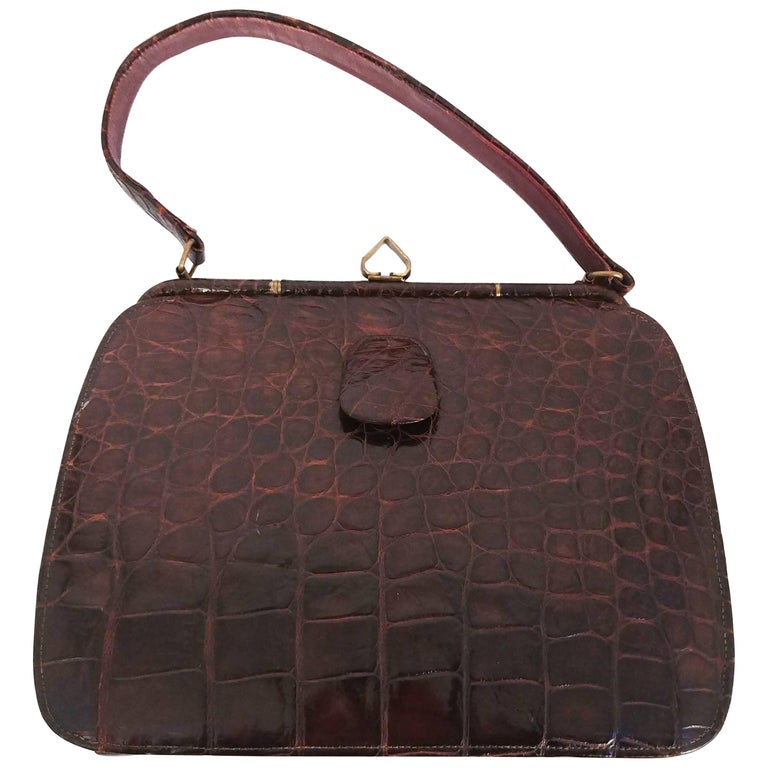1950s Brown Alligator Purse