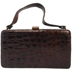 1940s Brown Boxy Alligator Purse