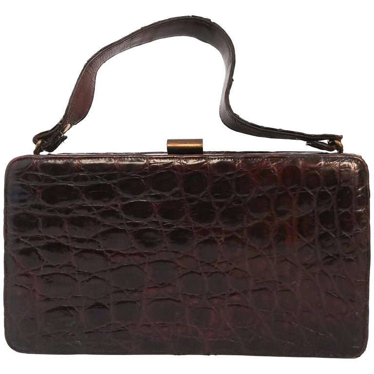 1940s Brown Boxy Alligator Purse For Sale