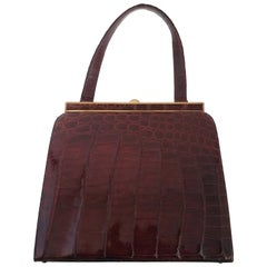 1950s Brown Alligator Handbag