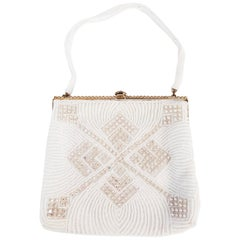 1960s Walborg White Beaded Evening Purse w/ Rhinestones