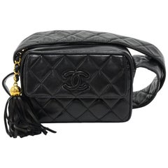 "Vintage Chanel 7.5"" Black Quilted Leather Tassel Pochette Shoulder Bag"