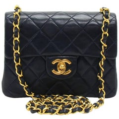 "Chanel 7"" Mini Flap Navy Quilted Leather Shoulder Bag"