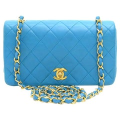Vintage Chanel Turquoise Quilted Leather  Mini Flap Shoulder Bag