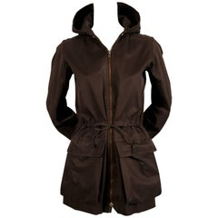 1960's YVES SAINT LAURENT brown cotton jacket with quilted hood and waist tie