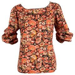 1970's YVES SAINT LAURENT floral printed cotton peasant shirt