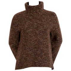 CELINE by PHOEBE PHILO brown boucle sweater with split cuffs