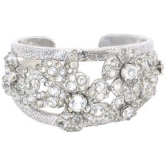 CHANEL floral cuff bracelet with 'CC' and crystals - 2003
