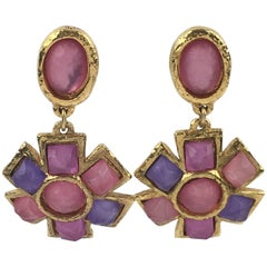 French Designer Alexis Lahellec Massive Clip-on Earrings Colorful Resin Cabochon